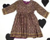 90's floral silk babydoll dress 1990's romantic grunge purple calico tiny flower print mini dress / loose empire waist / peter pan collar S