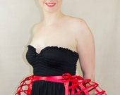 Two pieces worn together double pannier red ribbon and lacing Crinoline long cage hoop bustle
