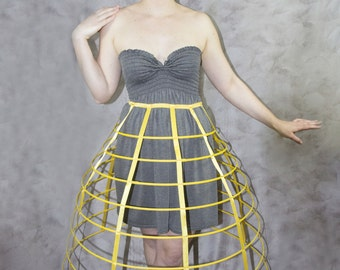 Yellow color hoop cage skirt pannier 8 rows plastic boned crinoline 31 inches long