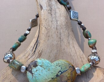 Tibetan Turquoise and Silver Necklace - Lift Your Spirits Necklace - Metaphysical Jewelry