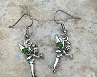 Silver Tinkerbell and Green Swarovski Crystal Earrings