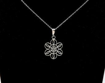Sterling Silver Flower Necklace, Filigree Flower Pendant, Dainty Necklace, Silver Flower Charm, Gift for Her