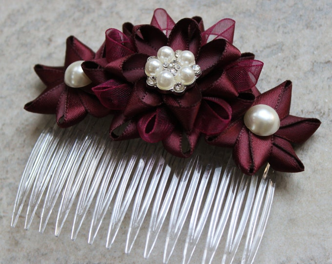 Floral Hair Comb, Burgundy Hair Flower, Burgundy Bridesmaid Hair Piece, Flower Hair Comb, Burgundy Wedding, Hair Accessories