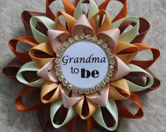 Fall Baby Shower Decorations, Baby Shower Fall Theme, Baby Shower Pins, Grandma to Be Pin, Gold, Orange, Autumn Baby Shower Corsages