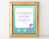 Headband Making Station Printable Sign, Mermaid Shower Table Sign, Aqua and Purple Baby Shower Sign, 2 Sizes, INSTANT DOWNLOAD