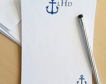 Personalized Stationery, Monogrammed Stationery, Stationery Set, Custom Stationery, Nautical Stationary, Anchor Stationary