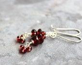 Garnet Earrings Petite Stack Sterling Silver Red Gemstone Cluster Dangle Beaded Earrings, January Birthstone