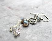 Labradorite Earrings Silver Chain Dangle Earrings Grey Stone Modern Sterling Silver