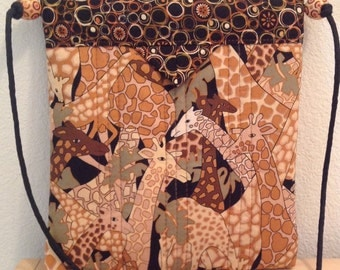 "Giraffes Quilted Fabric Snap Bag Purse Handbag Handmade 7-1/2"" X 8"""