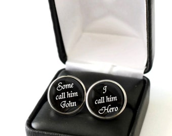 Personalized Fathers Day Gift for Dad from Son, Custom Fathers Day Gift from Daughter, Dad Hero Cufflinks, Cool Gifts for Dad Cufflinks