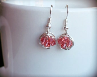 Petite Dangle Series - Dangling Wire Wrapped Handmade Earrings with Pink Swarovski Crystal Beads