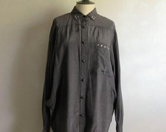 Vintage 80s Gun Metal Gray Shirt Rhinestone Studded Gray Oversize Shiny 1980s Ann Young Blouse 7
