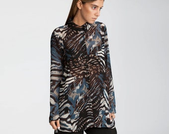 Semi sheer shirt, print blouse, Buttoned down blouse, Day Blouse, Collar top, office Blouse, day to night, classic shirts