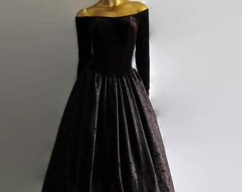 Vintage Brown Ballgown/ Off the shoulder corseted gown