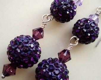 Pave Crystal Ball Plum Swarovski Earrings - Purple Crystal Ball Earrings, Violet earrings