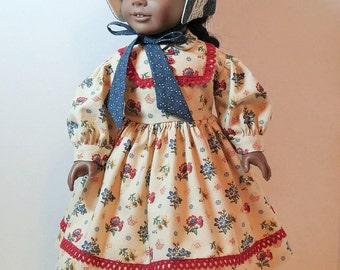 SALE!!  Civil War Era Dress and Bonnet for 18 Inch Dolls