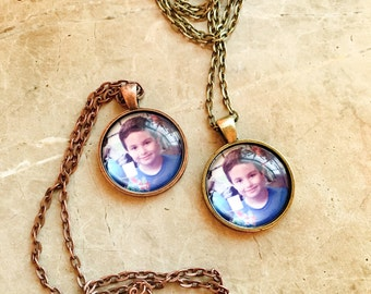 """Copper-Brass-Silver Tone Photo Necklace with 24"""" chain, Personalized Photo Pendant, Personalize Picture Necklace, Picture Pendant"""
