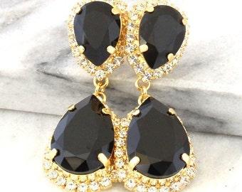 Black Chandelier earrings, Black Statement Earrings, Black Swarovski Earrings,Black gold long earrings, Party Long Chandelier earrings