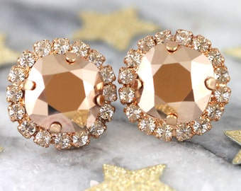 Rose Gold Earrings, Bridal Rose Gold Earrings, Bridesmaids Earrings,Rose Gold Swarovski Earrings, Bridal Crystal Studs, Gift For Her
