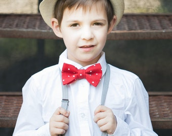 Red Polka dot bow tie - Red bow tie -  Boy Linen bow tie - Ring bearer bow tie - Toddler boy bowtie - Ring bearer outfit - Wedding bow tie