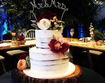 Mr & Mrs Wedding Cake Topper, Rustic Wedding Cake Decoration, Wedding Centerpiece, Bridal Shower, Engagement Party, Anniversary Decoration