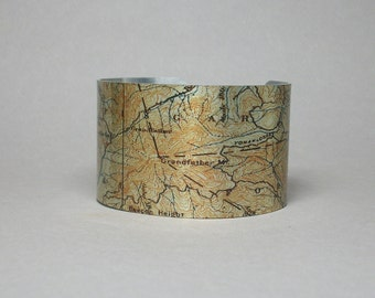 Appalachian Mountains Pisgah National Forest North Carolina Map Cuff Bracelet Unique Gift for Men or Women