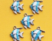 5 Fish Charms Enamel Silver Tone Tropical Fish Blue and White Stripes - E194