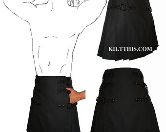 Interchangeable Black Soft Cotton Gunmetal Cargo Utility Kilt Custom Fit Adjustable Many Options