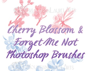 Cherry Blossom Photoshop Brushes - Forget Me Not Graphic Design Flowers - Watercolor Painting Flowers - Floral Digital Stamp