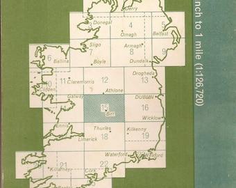 "Ordnance Survey Map of Ireland, Vintage Map, Central Ireland, Footpath Map, Road Map, Railways, Hostels, Antique Shops, 30"" x 21"" Map"