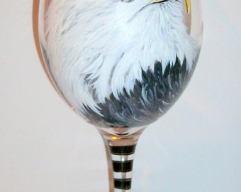 Eagle, Birds of Prey Portraits Fathers Day Hand Painted Wine Glasses Pet Portrait Turkey Vulture, Red Tail Hawk Falcon 1- 20 oz. Wine Glass