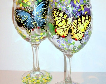 Butterflies and Flowers Hand Painted Wine Glasses Set of 2 - 20 oz. Wine Glasses Black Swallowtail Yellow Swallowtail Zebra Butterfly