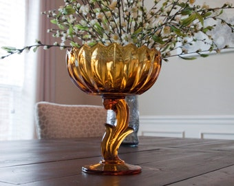 Lotus Flower Amber Indiana Glass Compote Dish