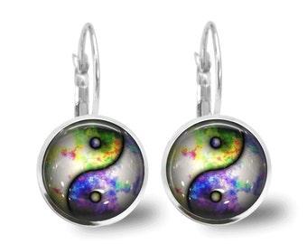 Tile Earrings Ying Yang Earrings Tile Jewelry Ying Yang Jewelry Yin and Yang Silver Earrings Beaded Jewelry Tie Dye Jewelry Silver Jewelry