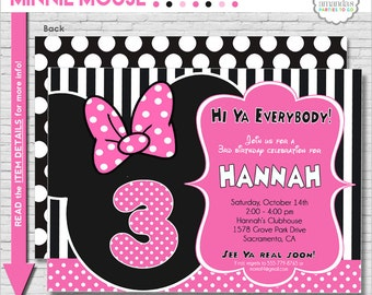 Minnie Mouse Birthday Invitation Printable | Minnie Mouse Party Invitation | Minnie Invitation | Pink Minnie Party | Amanda's Parties To Go