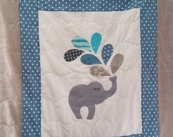 Grey and blue elephant applique baby blanket, elephant baby quilt