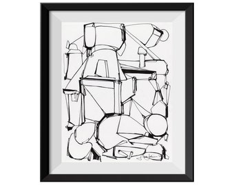 Abstract ORIGINAL Drawing, Black and White Drawing, Black Line Drawing, Abstract Ink Drawing, Black Ink Drawing, Scribble, Pen and Ink