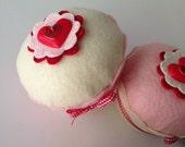 Valentine's Heart Felt Cupcake (Pink or Ivory - Large Size) - Home Decor, Valentine's Gifts, Anniversary, Birthday, Wedding, Pin Cushion