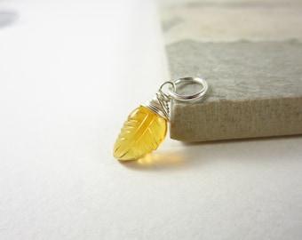 Genuine Gemstone Citrine Pendant - Wire Wrapped Sterling Silver Pendant - November Birthstone Jewelry - Carved Gemstone Leaf Pendant