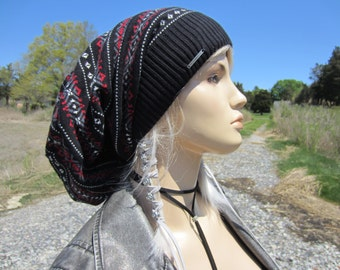 Extra Long Dread Tam Hat Cotton Knit Slouchy Beanie Fair Isle Dreadlock Tam  Black Gray Red Winter Hat  A1880