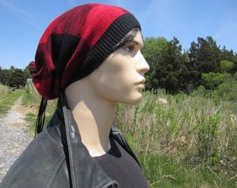 Buffalo Plaid Slouchy Beanie Black Red Cotton Knit Leather Tie Back Tam Baggy Long Oversized Slouch Hats by Vacationhouse A1571