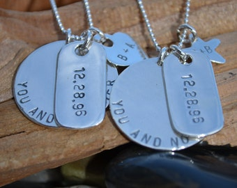 Matching Necklaces - His & Hers - Sterling Silver  -Couples Necklaces - Personalized - Song, Coordinates, Quotes, Dates