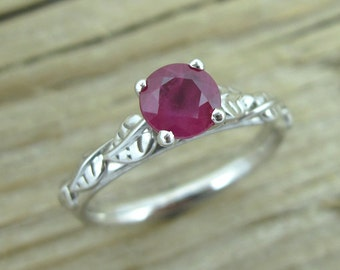Ruby Engagement Ring, Leaf Engagement Ring, Engagement Ring With Ruby, Antique Engagement Ring, Leaves Engagement Ring, Ruby and white gold