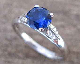 Leaf Engagement Ring, Sapphire Engagement Ring, Sapphire Antique Ring, Sapphire Leaf Ring, Nature Ring, Blue Sapphire Vine Ring Gift For Her