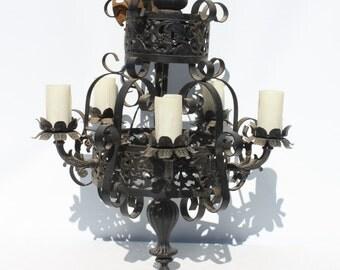 Vintage Chandelier Black Wrought Iron Medieval Gothic Spanish Mediterranean Castle Decor Large