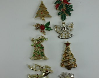 Vintage Christmas Pins Brooches Assortment Set of 8 Pins Lot F