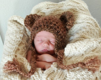 Bear Hat - Brown Bear Hat - Baby Bear Hat - Baby Hat - Newborn Bear Hat - Photo Prop- Baby Shower Gift  -by JoJosBootique
