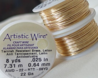 Artistic Wire Non-tarnish brass beading wire, 22 gauge, 8 yards, .64mm thick