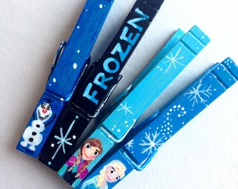 FROZEN CLOTHESPIN hand painted magnetic clothespin set