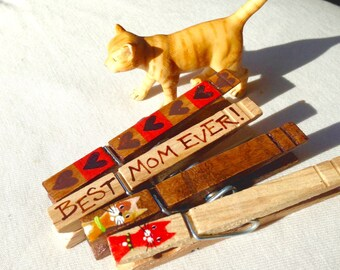 BEST MOM EVER clothespin hand painted magnet cats wooden clothespin chip clip